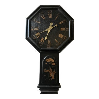 Chinoiserie Black and Gold Painted Wall Clock For Sale