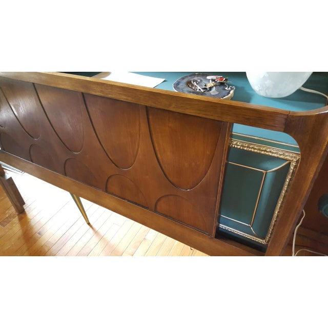 Brown Vintage Walnut Broyhill Brasilia Full/Queen Headboard For Sale - Image 8 of 10