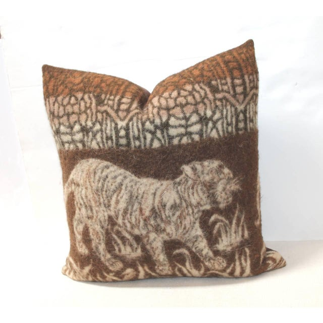 This most interesting wool camp blanket has the tigers coming through the jungle. It makes for such a fun and soft pillow....