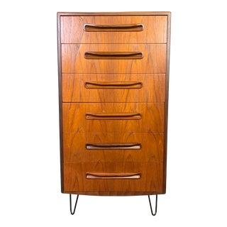 Vintage G Plan British Mid Century Modern Teak Highboy Dresser For Sale