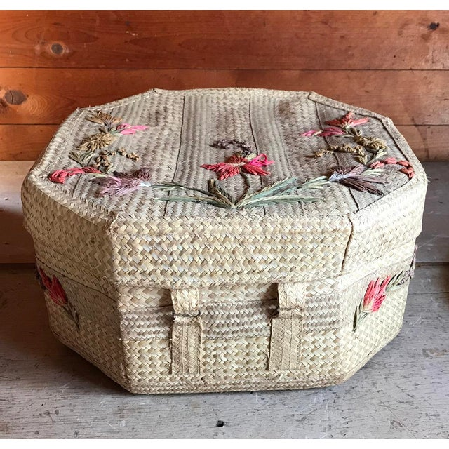 1970s Straw Hat and Woven Hat Box, Boho Fashion For Sale - Image 9 of 10