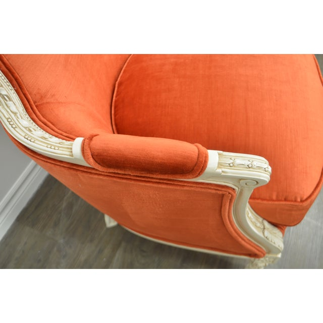 Louis XVI Pair of Louis XVI Style Painted Bergere Chairs Newly Uphostered in a Tangerine Velvet. For Sale - Image 3 of 10