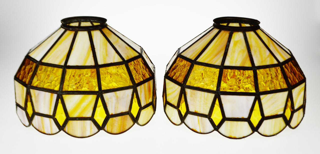 Vintage Tiffany Style Stained Glass Lamp Shades   A Pair   Image 4 Of 11