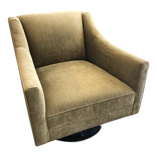 Mitchell Gold & Bob Williams Velvet Green Swivel Chair For Sale