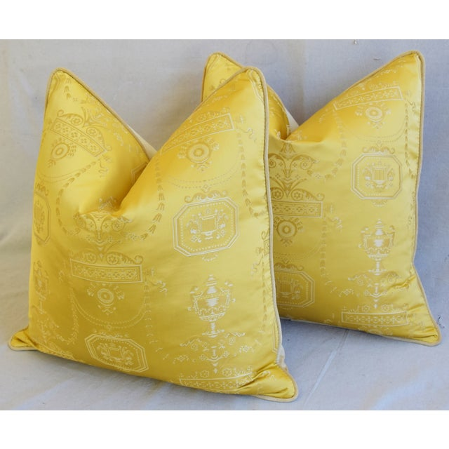 """Cotton Designer Italian Golden Silk Lampas Feather/Down Pillows 24"""" Square - Pair For Sale - Image 7 of 12"""