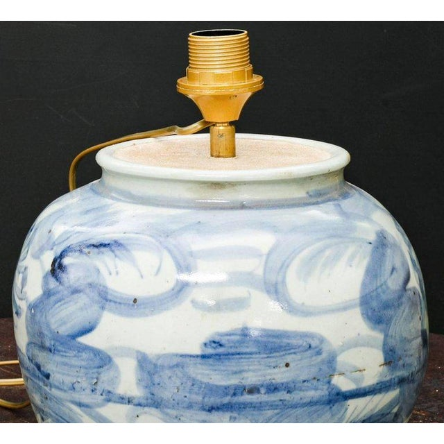 Asian Celadon and Blue Glazed Stoneware Table Lamp For Sale - Image 3 of 7