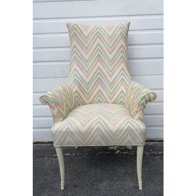 Vintage Painted Tall Pair of Living BedRoom Fireplace Side Chairs For Sale - Image 11 of 13
