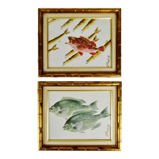 Vintage Framed Asian Fish Prints - a Pair For Sale