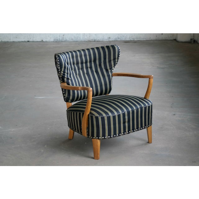 Otto Schulz Style Lounge Chair in Oak With Brass Tacks Danish Midcentury For Sale - Image 11 of 11