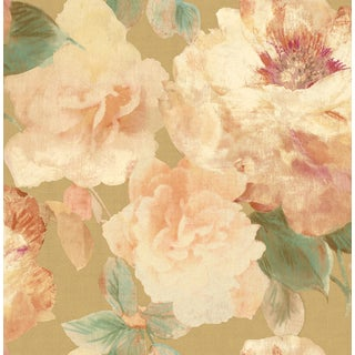 Floral Wallpaper Luscious Blossoms in Pink, Gold, Cream, Green For Sale