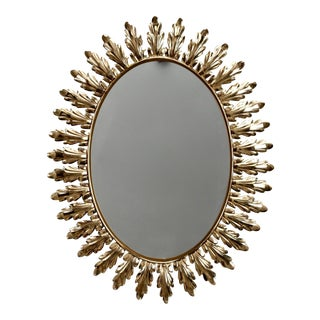 Mid-Century Italian Oval Sunburst Mirror with Acanthus Leaves For Sale