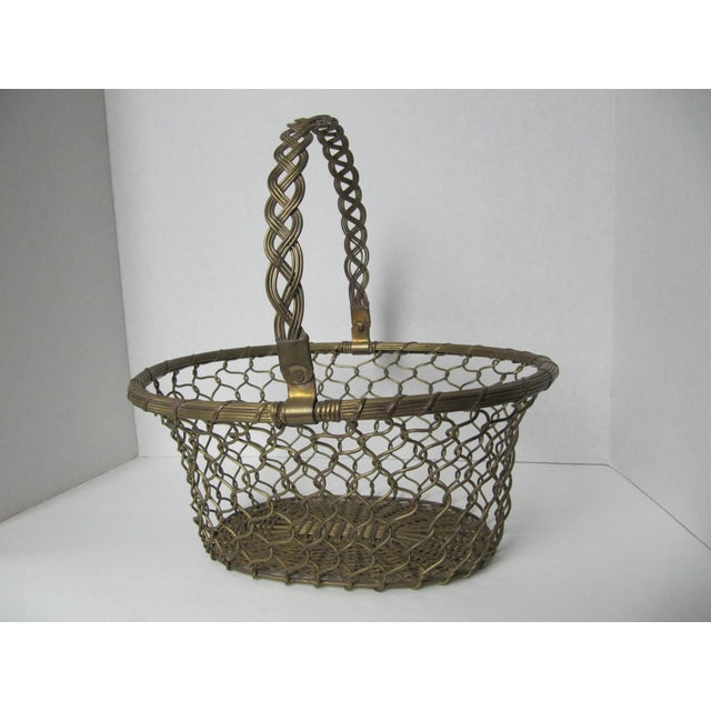 Traditional Brass Woven Basket For Sale - Image 3 of 5