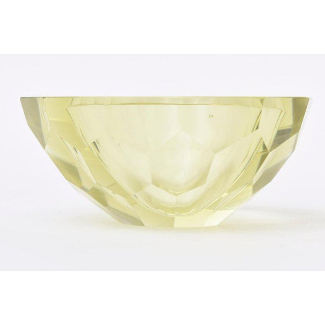 Glass Italian Vintage Murano Diamond Faceted Geode Sommerso Glass Bowl For Sale - Image 7 of 11