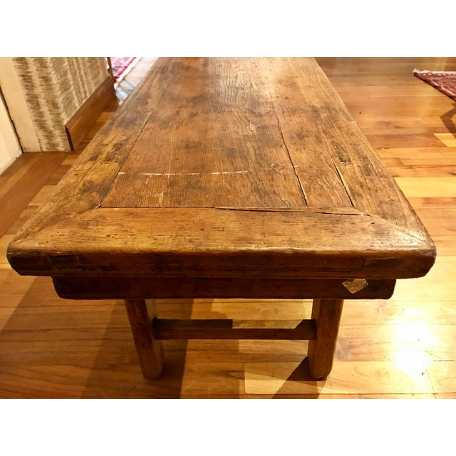 Brown Chinese Antique Carved Wood Bench For Sale - Image 8 of 11