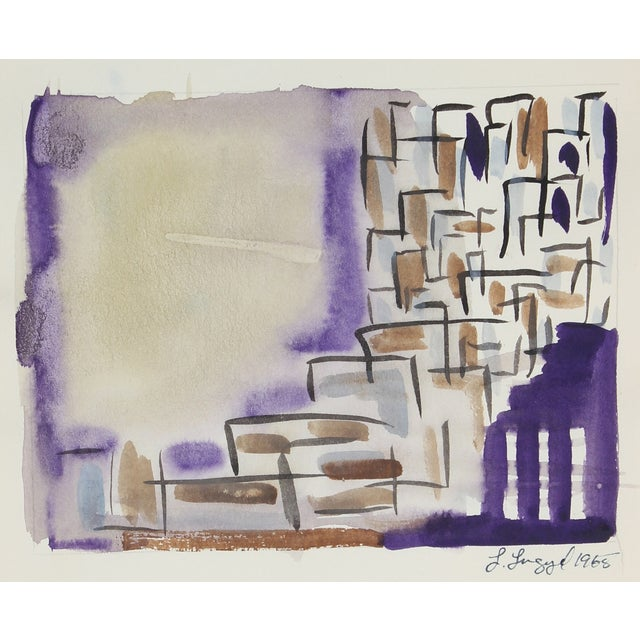 Abstract Gouache Cityscape Painting, 1965 For Sale