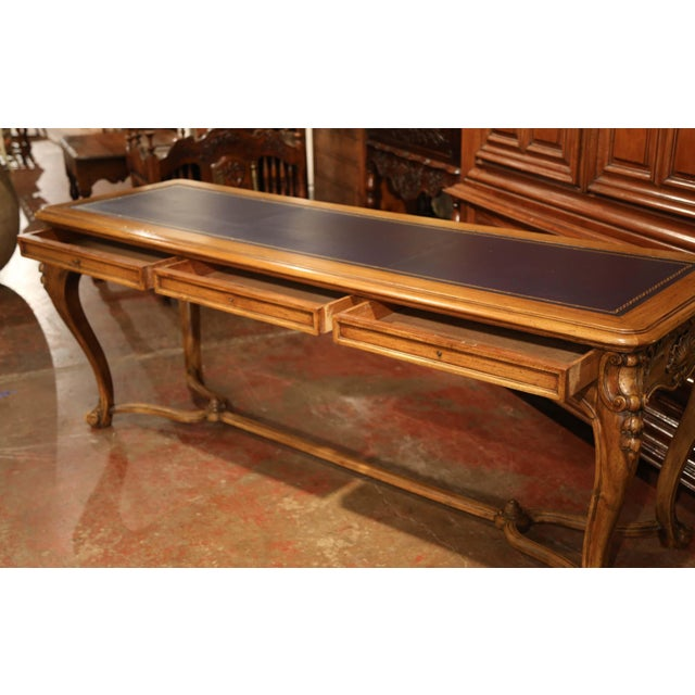 Animal Skin Large 19th Century French Louis XV Carved Walnut Console Desk With Leather Top For Sale - Image 7 of 13