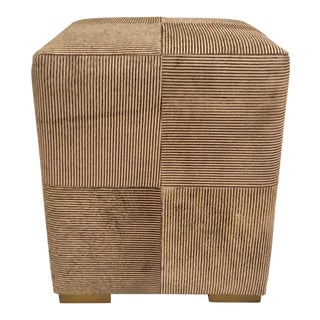 Made Good Modern Hair on Hide Brown and Taupe Stripe Viktor Stool For Sale
