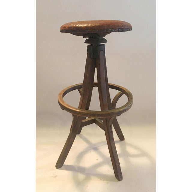Vintage Industrial Leather Swivel Stool - Image 6 of 6