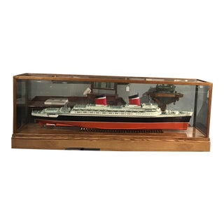 1990s Scale Ship Model of the United States of America with Case For Sale