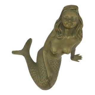 Vintage Brass Mermaid Figurine For Sale