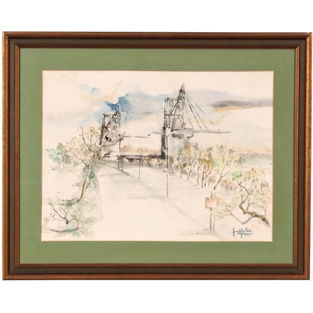Original Watercolor of a Bridge Scene - Image 1 of 2