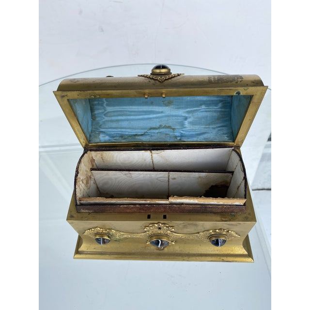 Gilt-Metal Box With Stone Accents For Sale - Image 11 of 12