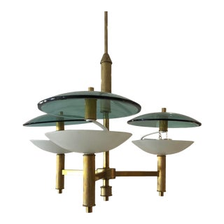Italian Mid Century Modern Three Arm Brass and Glass Chandelier For Sale