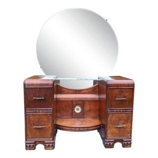 1930s Art Deco Leo Jiranek Vanity With Mirror & Built-In Clock For Sale