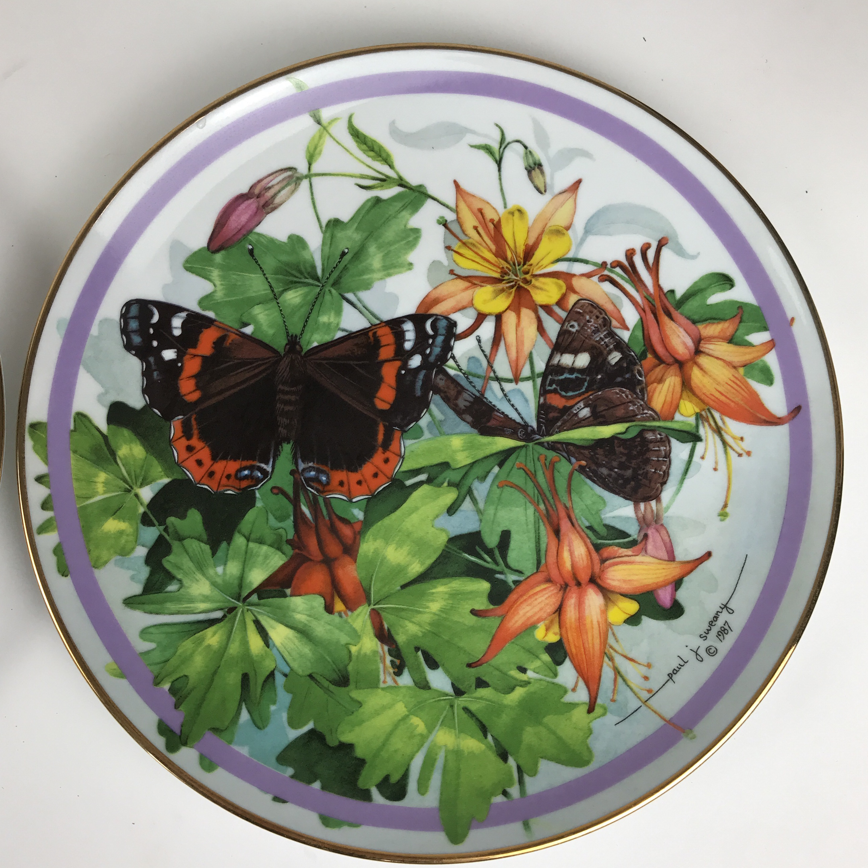 Butterfly Garden Plate Set Of 8 By Paul J Sweany Hamelton Collection 1986.  I Bought