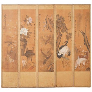 Japanese Korean Meiji Period Five-Panel Screen For Sale