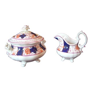 Mid 19th Century Vintage Gaudy Welsh Sugar Bowl & Creamer- A Pair For Sale