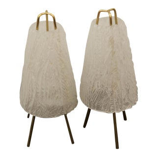 Table Lamps in Ice Optics by Kalmar, 1950s - A Pair For Sale