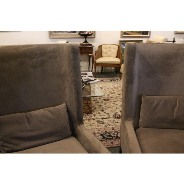 Vintage Mid Century Plush Contemporary Wing Chairs- A Pair For Sale - Image 4 of 9