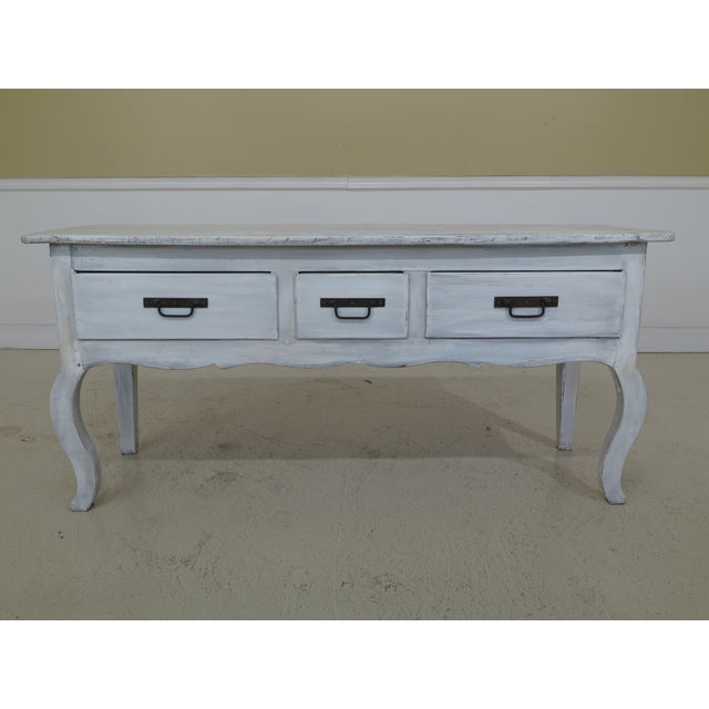 Shabby Chic Country White 3 Drawer Console Table Server For Sale - Image 10 of 10