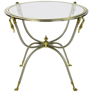 Italian Nickel and Brass End Table With Swan Motif For Sale