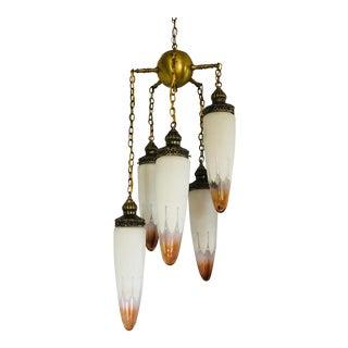 Vintage Mid-Century Regency Elongated Globes & Brass Chandelier For Sale