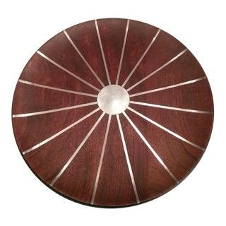 Mid Century Paul Evans Studio Walnut & Inlaid Pewter Sunburst Platter Charger