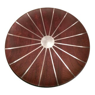 Mid Century Paul Evans Walnut & Inlaid Pewter Sunburst Platter Charger For Sale