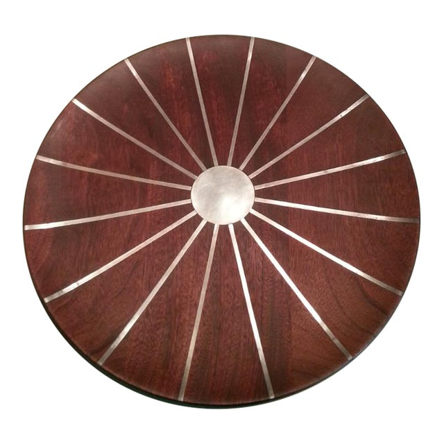 Image of Mid Century Paul Evans Walnut & Inlaid Pewter Sunburst Platter Charger