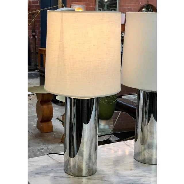 1970s 1970s Italian Reggiani Steel Cylinder Lights - a Pair For Sale - Image 5 of 6