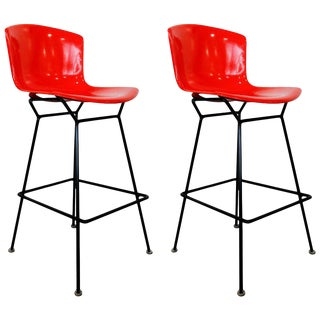 Rare Pair of Red Fiberglass Knoll Bertoia Stools For Sale