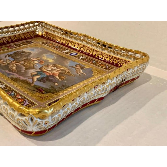 Royal Vienna Pierced Tray Depicting Cupid and the Charriot of Venus For Sale - Image 10 of 11