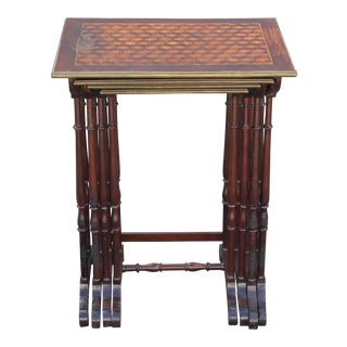 Antique Neoclassical Inlaid Nesting Tables - Set of 4 For Sale