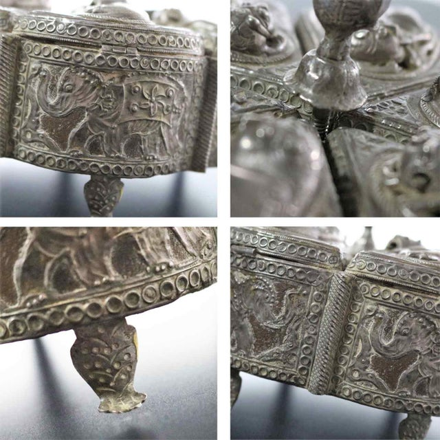 Silver Antique India Pierced Silver Overlay Spice Box With Six Compartments For Sale - Image 8 of 13