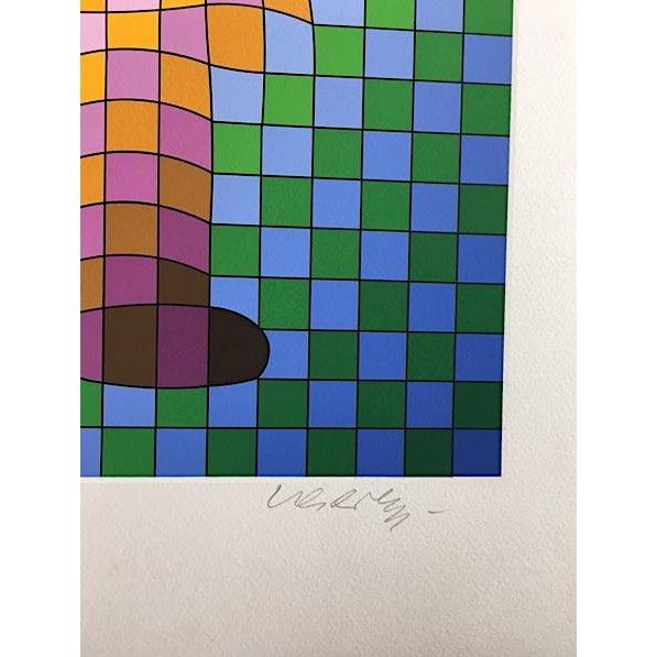 "Op Art Victor Vasarely ""Harlequin Sportif"" Signed Silkscreen Seriograph For Sale - Image 3 of 7"