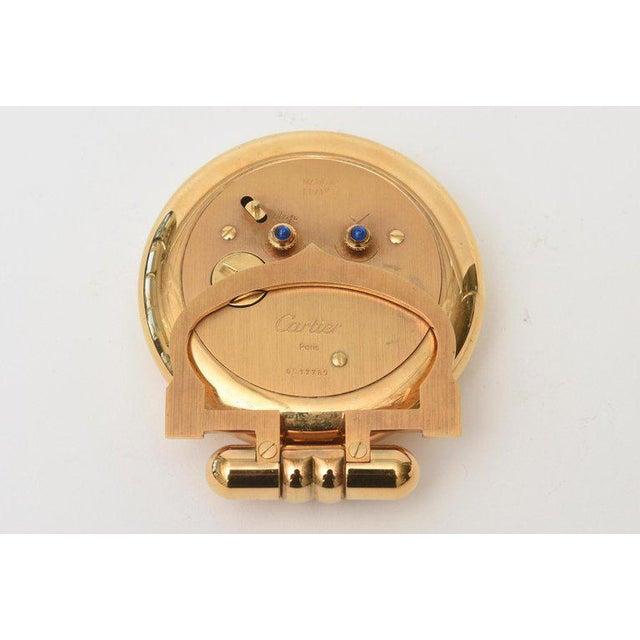 Cartier 24 Karat Gold Plated Travel Quartz Desk Clock/ Desk Accessory For Sale - Image 10 of 11