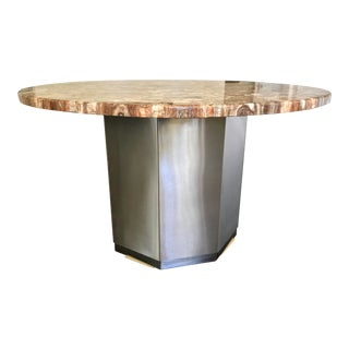 Petrified Wood Table With Stainless Steel Base For Sale
