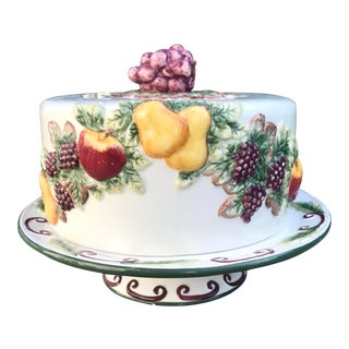 Majolica Cake Plate and Cover For Sale