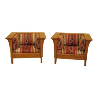 Stickley Mission Oak Arts & Crafts Cube Chairs - a Pair