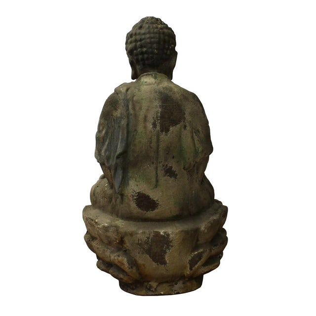 Chinese Rustic Wood Sitting Buddha Statue For Sale - Image 4 of 6